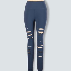 Alo Ripped Warrior Leggings High Waisted Blue L